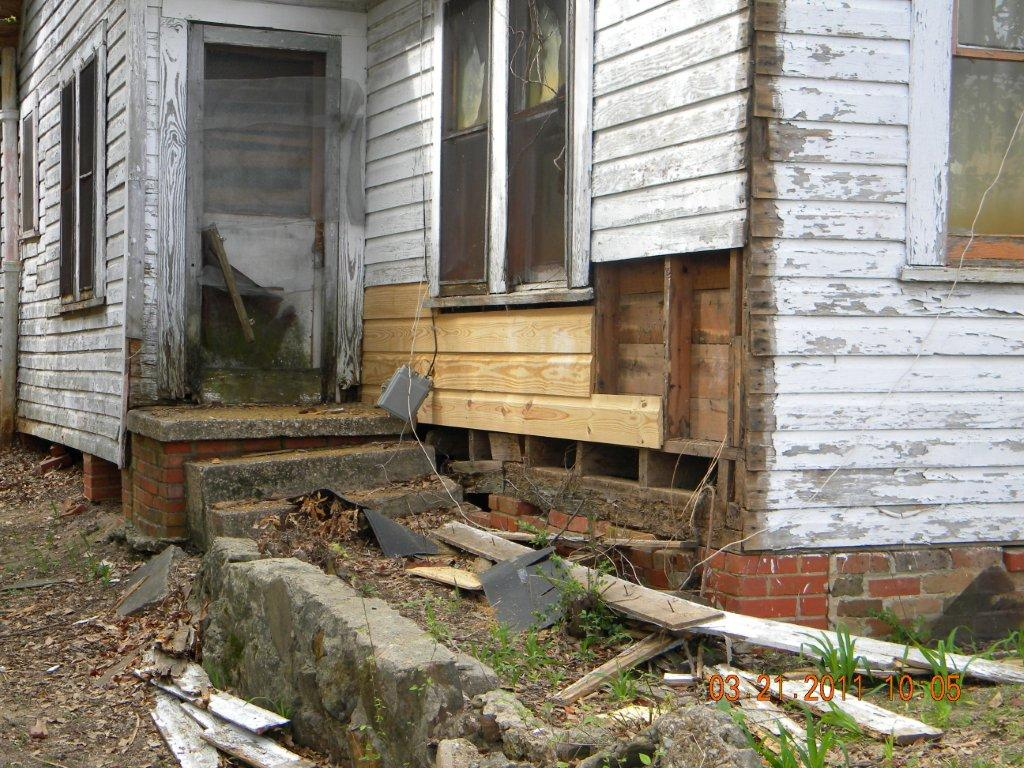 House with collapsed deck