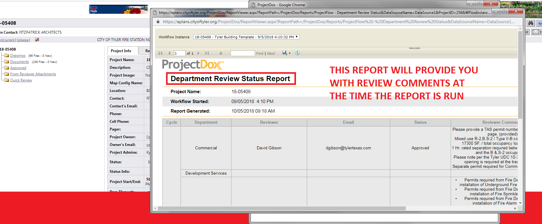 This report will provide you with review comments at the time the report is run