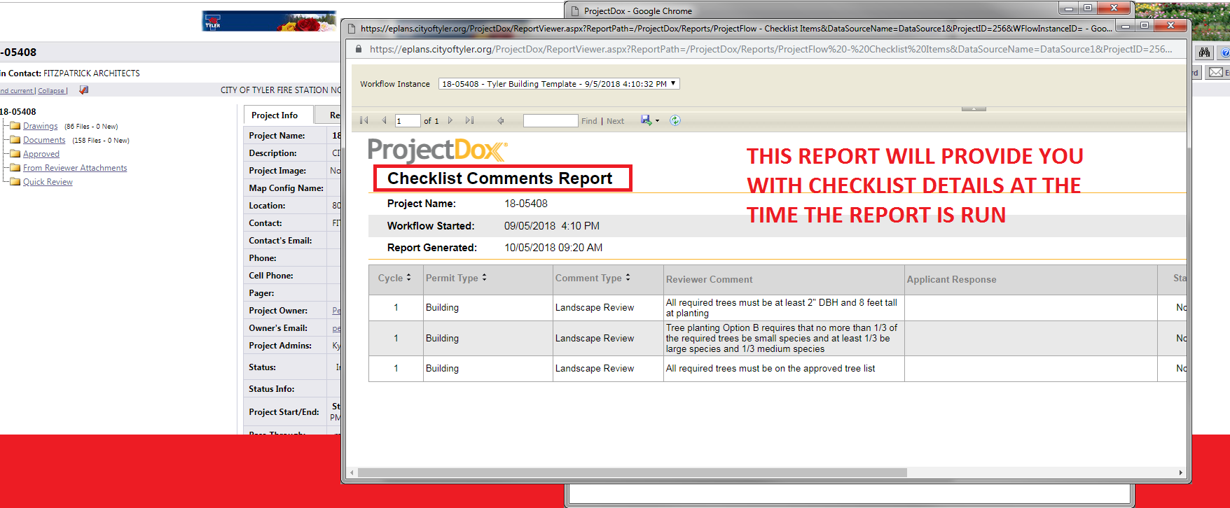 This report will provide you with checklist details at the time the report is run