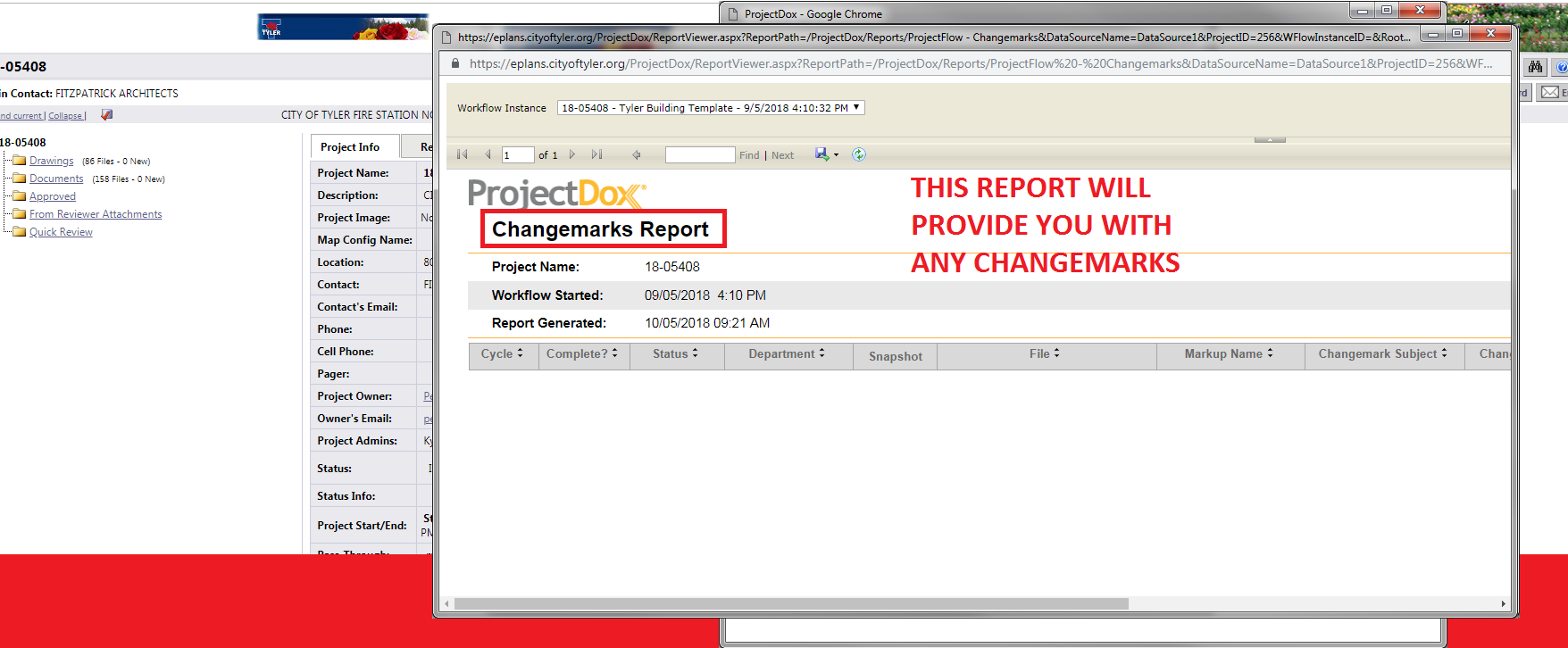 This report will provide you with any changemarks